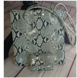 Nine West Shoulder Purse /wallet Faux Snake skin